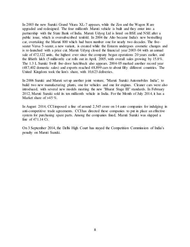 marketing stratergies of maruti suzuki Marketing strategies of indian automobile companies: a case study of maruti suzuki india limited drmalokhande 1, vishal sunil rana 2 1 prof & head, dept of commerce, drbabasaheb ambedkar marathwada.