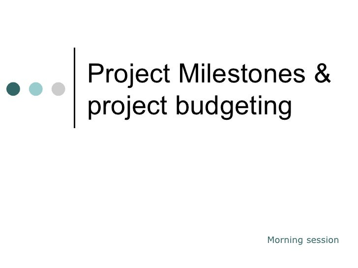 Project Milestones & project budgeting Morning session