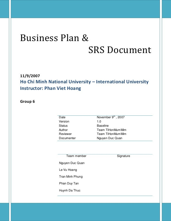 Business Plan &                SRS Document  11/9/2007 Ho Chi Minh National University – International University Instruct...