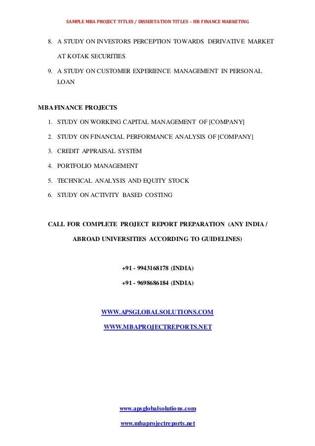Masters dissertation topics in marketing
