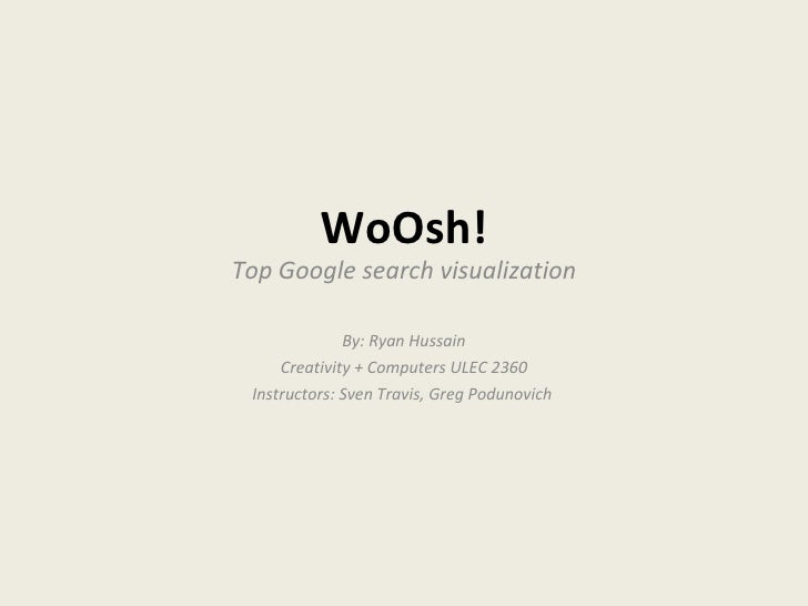 WoOsh! Top Google search visualization By: Ryan Hussain Creativity + Computers ULEC 2360 Instructors: Sven Travis, Greg Po...