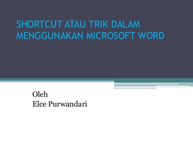 Shortcut Microsoft Word Elce