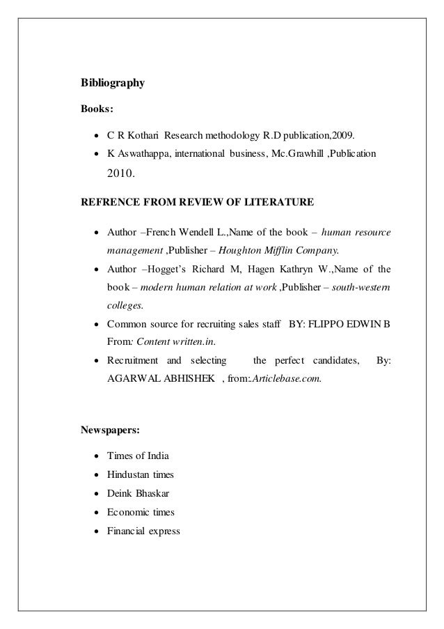 review of literature of recruitment and selection project