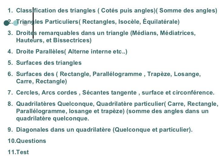 <ul><li>Classification des triangles ( Cotés puis angles)( Somme des angles) </li></ul><ul><li>Triangles Particuliers( Rec...