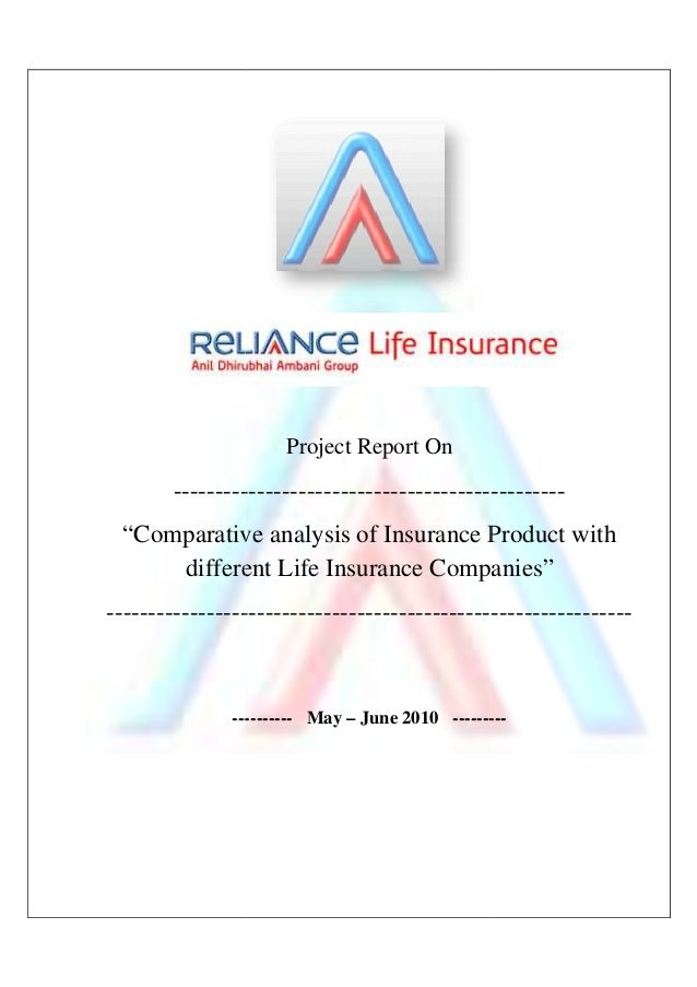 Reliance Life Insurance Summer Project Report 2010