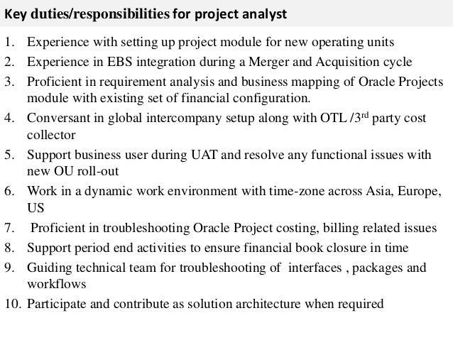 Project analyst job description