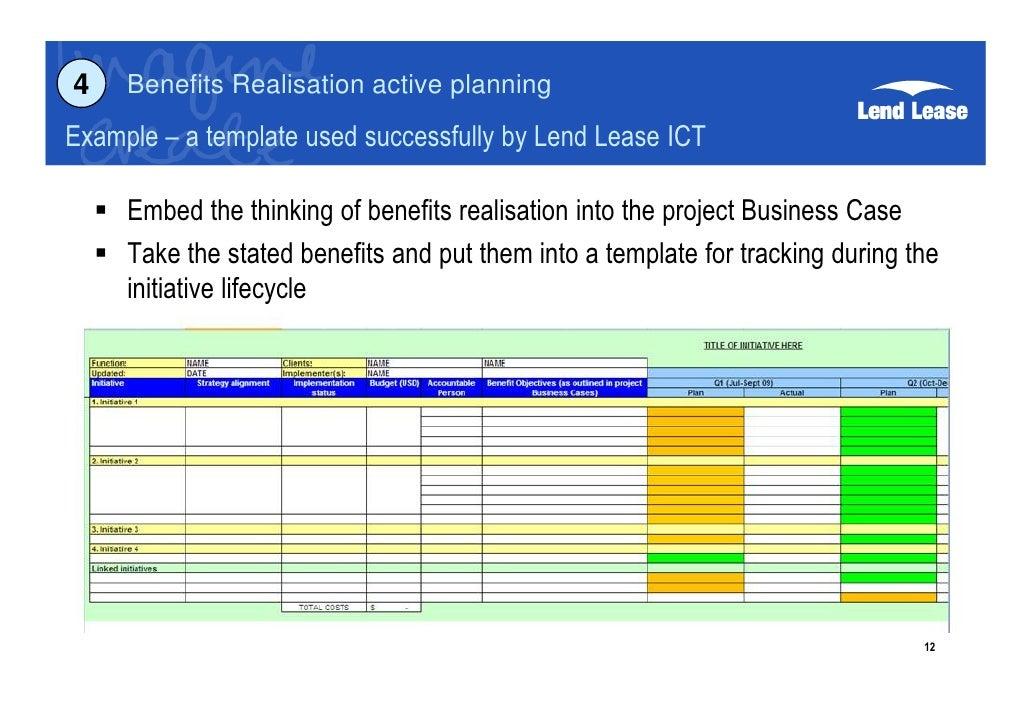 Project benefits realisation g byatt for Benefits realization plan template