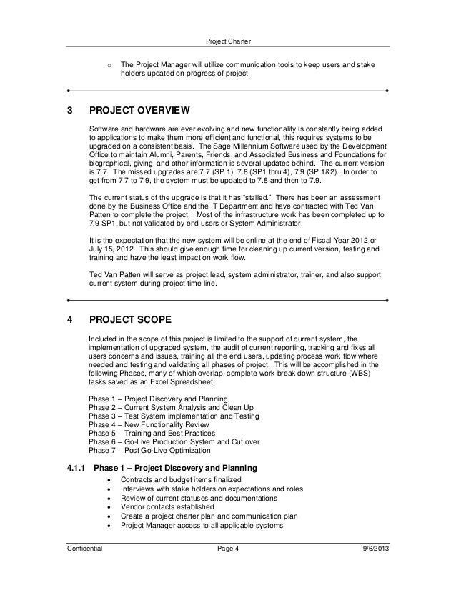Project charter and plan document for millennium upgrade for Software project charter template