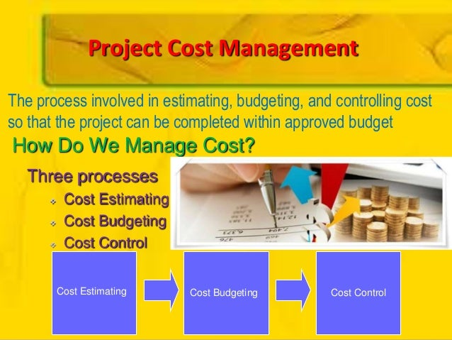 How Do We Manage Cost?Three processes Cost Estimating Cost Budgeting Cost ControlCost Estimating Cost Budgeting Cost Co...