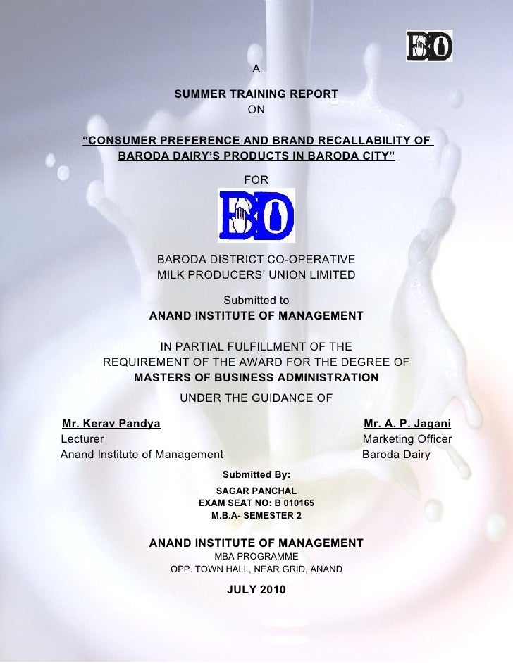 Project report on baroda dairy