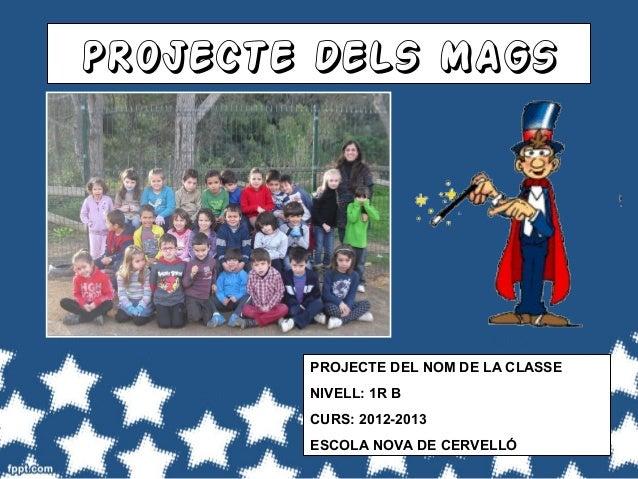 PROJECTE DELS MAGS        PROJECTE DEL NOM DE LA CLASSE        NIVELL: 1R B        CURS: 2012-2013        ESCOLA NOVA DE C...