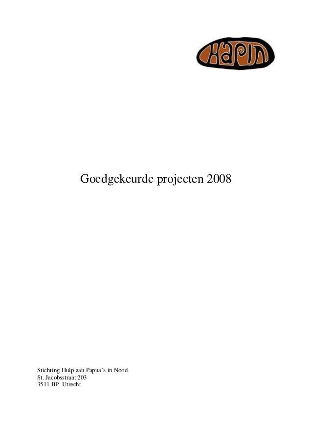Projectenlijst hapin 2008