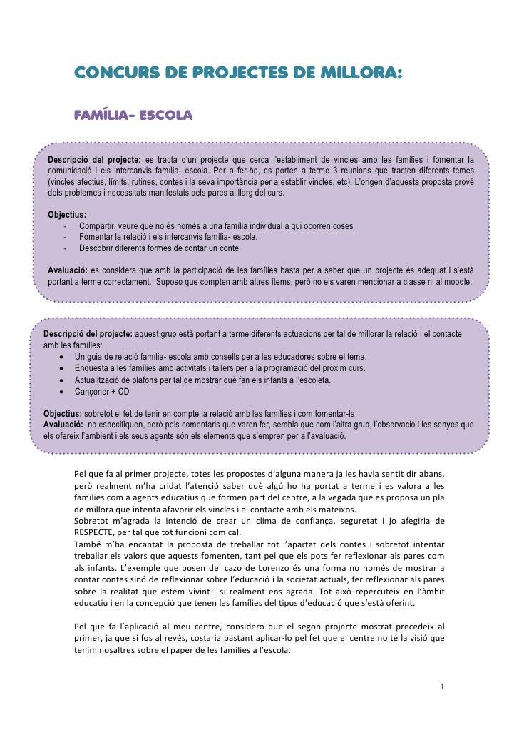 CONCURS DE PROJECTES DE MILLORA:        FAMÍLIA- ESCOLA Descripció del projecte: es tracta d'un projecte que cerca l'estab...