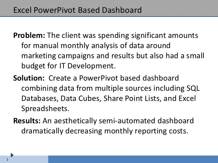 Excel PowerPivot Based Dashboard    Problem: The client was spending significant amounts      for manual monthly analysis ...