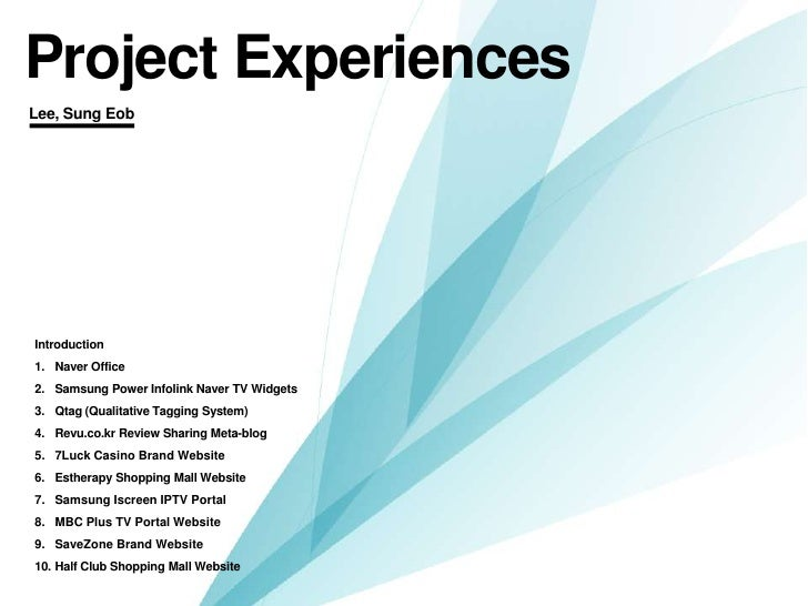My project experiences