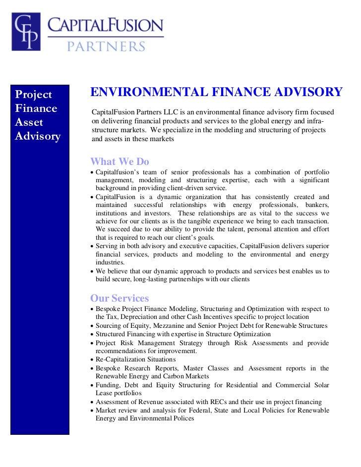 Project    ENVIRONMENTAL FINANCE ADVISORYFinance    CapitalFusion Partners LLC is an environmental finance advisory firm f...