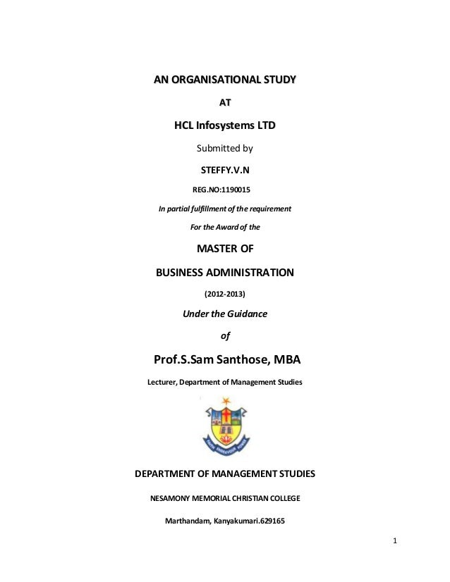 organisation study on HCL Infosystems