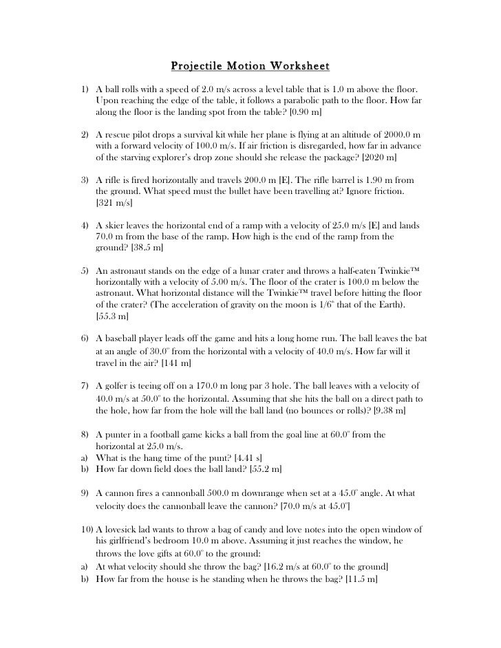 Printables Projectile Motion Worksheet projectile motion worksheet with answers davezan template
