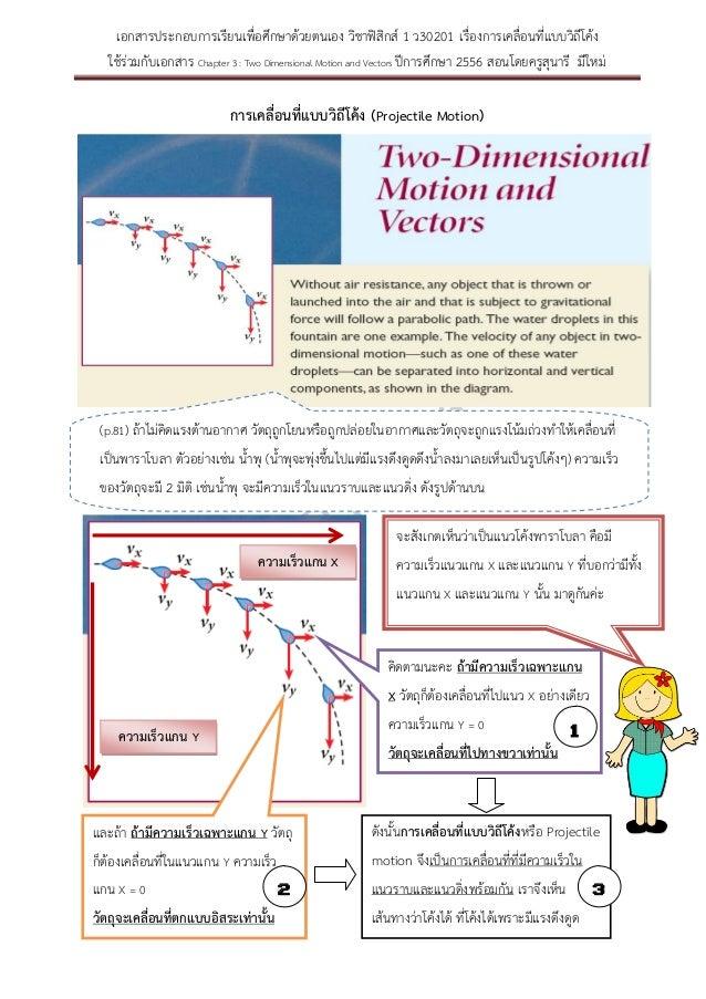 เอกสารประกอบการเรียนเพื่อศึกษาด้วยตนเอง วิชาฟิสิกส์ 1 ว30201 เรื่องการเคลื่อนที่แบบวิถีโค้ง ใช้ร่วมกับเอกสาร Chapter 3 : T...