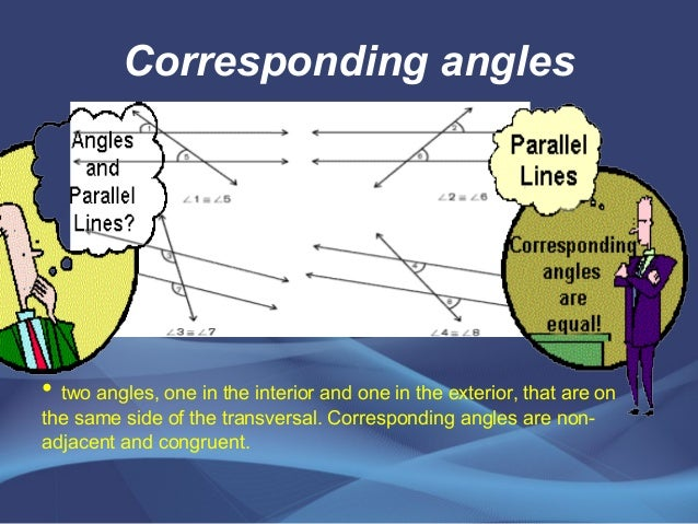 Angles of parallel line cut by a transversal line - Same side exterior angles are congruent ...