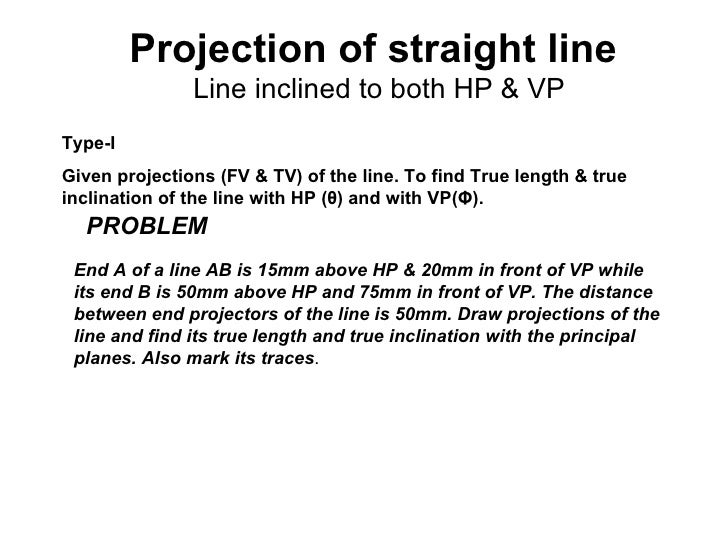Projection of straight line               Line inclined to both HP & VPType-IGiven projections (FV & TV) of the line. To f...