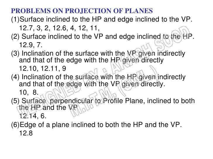 PROBLEMS ON PROJECTION OF PLANES(1)Surface inclined to the HP and edge inclined to the VP.   12.7, 3, 2, 12.6, 4, 12, 11,(...