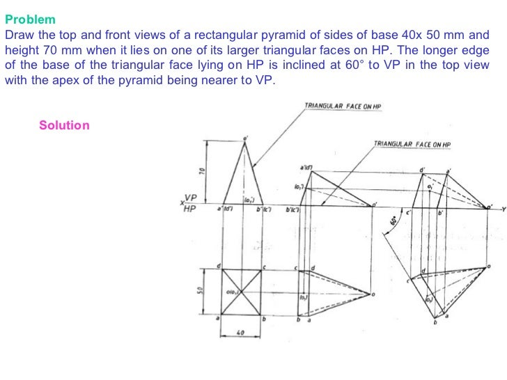 Front Elevation Of A Prism : Projections of solids