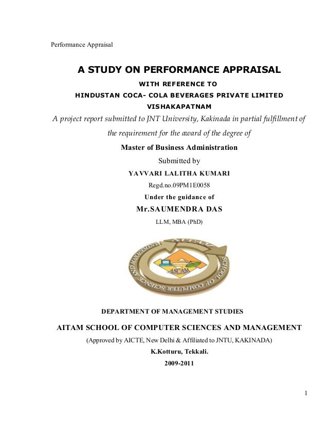 Performance Appraisal A STUDY ON PERFORMANCE APPRAISAL WITH REFERENCE TO HINDUSTAN COCA- COLA BEVERAGES PRIVATE LIMITED VI...