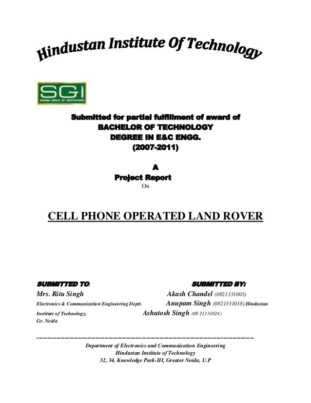 Submitted for partial fulfillment of award of                     BACHELOR OF TECHNOLOGY                        DEGREE IN ...
