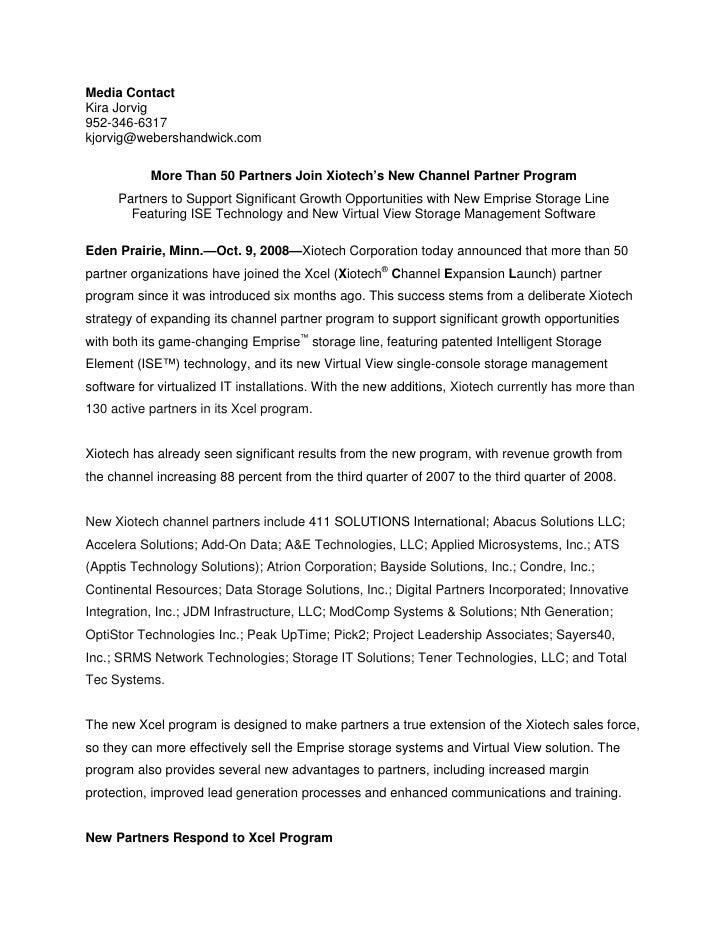 Media ContactKira Jorvig952-346-6317kjorvig@webershandwick.com           More Than 50 Partners Join Xiotech's New Channel ...