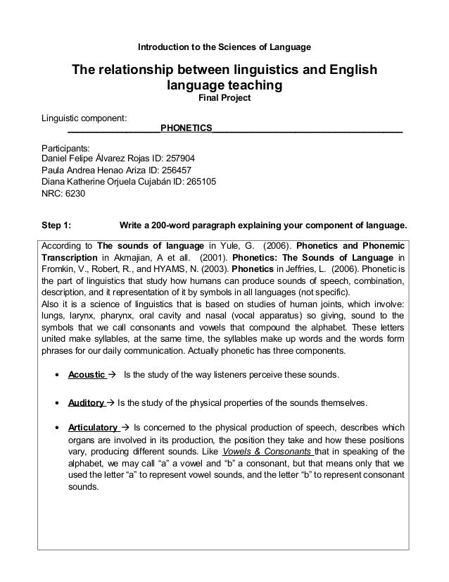Introduction to the Sciences of Language          The relationship between linguistics and English                        ...