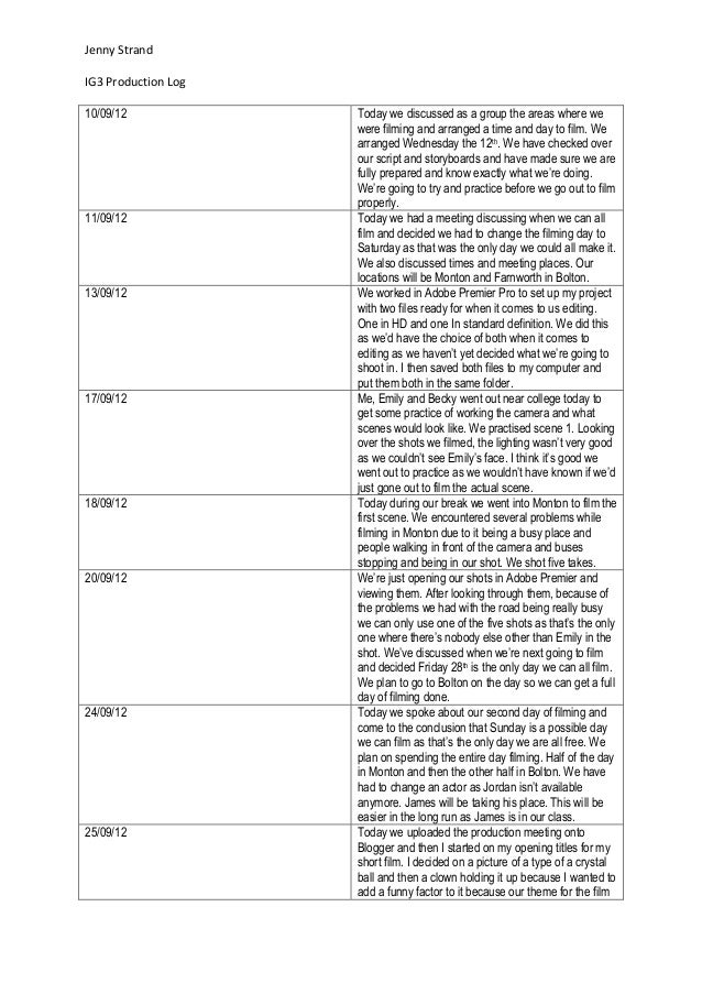 Jenny StrandIG3 Production Log10/09/12             Today we discussed as a group the areas where we                     we...