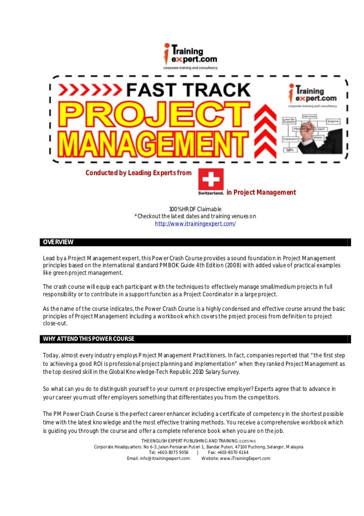 Project management 2 days fast track public program course brochure. by i trainingexpert