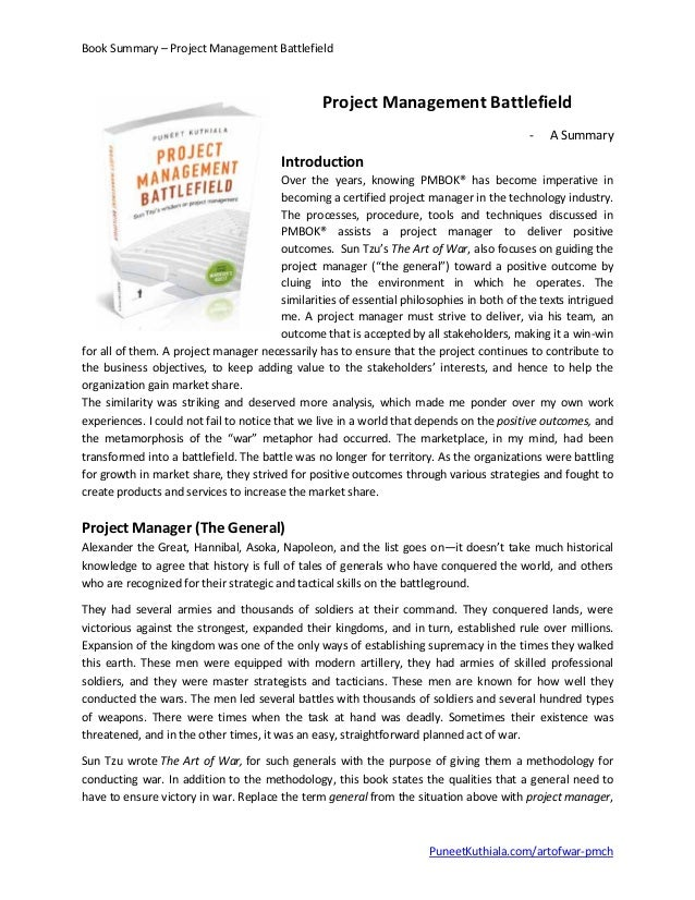 Book Summary – Project Management Battlefield Project Management Battlefield - A Summary Introduction Over the years, know...