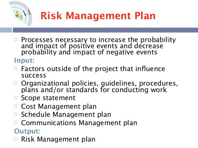 risk management plan proposal The risk management process for federal facilities: an  best practices for planning and managing physical security resources is a guide intended.