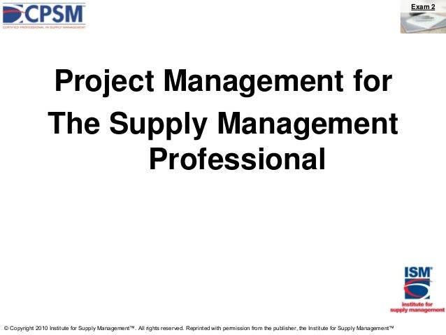 Project management for the supply management professional rev. 5 13-13