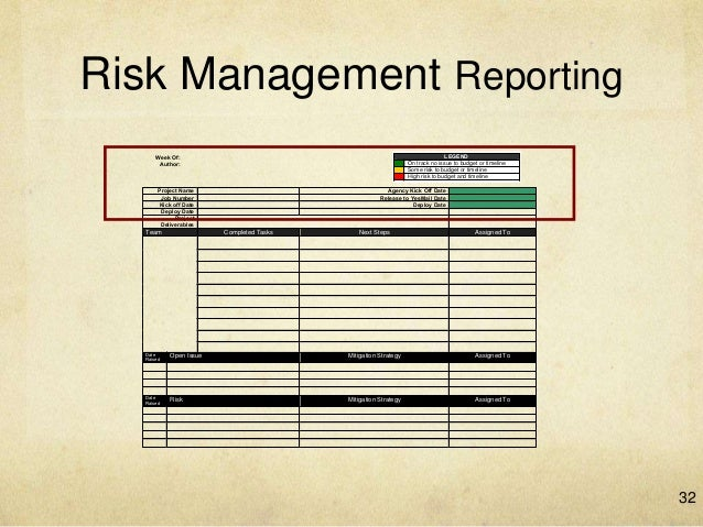 risk management tea shop report Management will be notified of important changes to risk status as a component to the executive project status report tools and practices a risk log will be maintained by the project manager and will be reviewed as a standing agenda item for risk management plan template [insert.