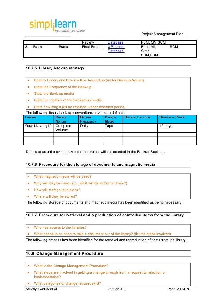 Project management plan template for It backup plan template