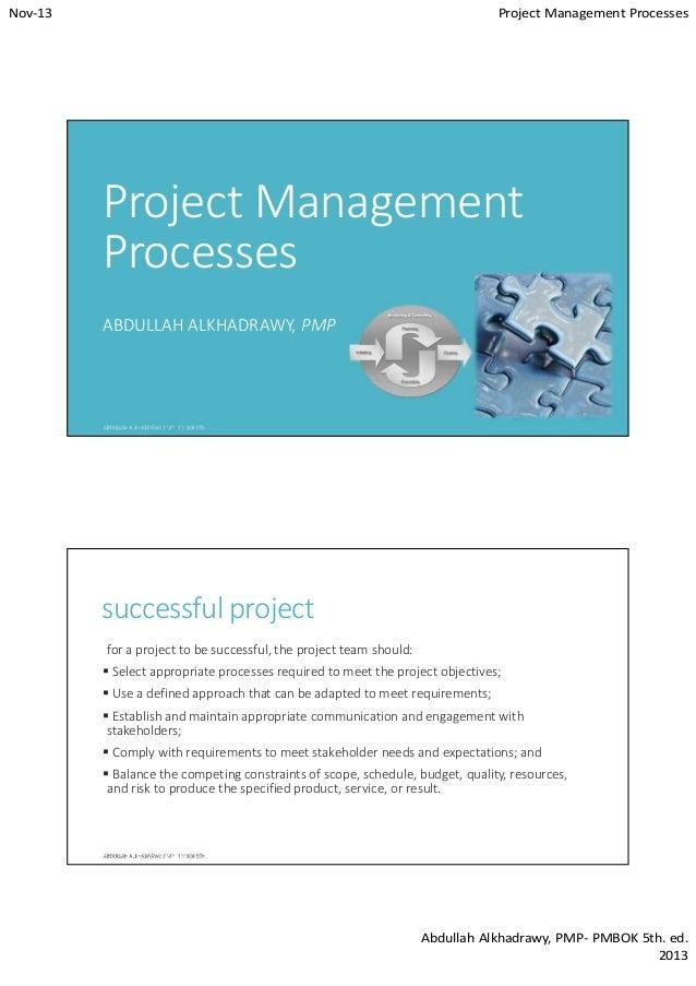 Nov-13  Project Management Processes  Project Management Processes ABDULLAH ALKHADRAWY, PMP  successful project for a proj...