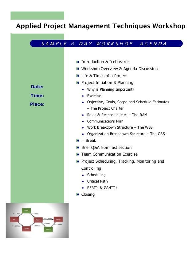Project Management Workshop Agenda Pmp Certification Classes Pmp