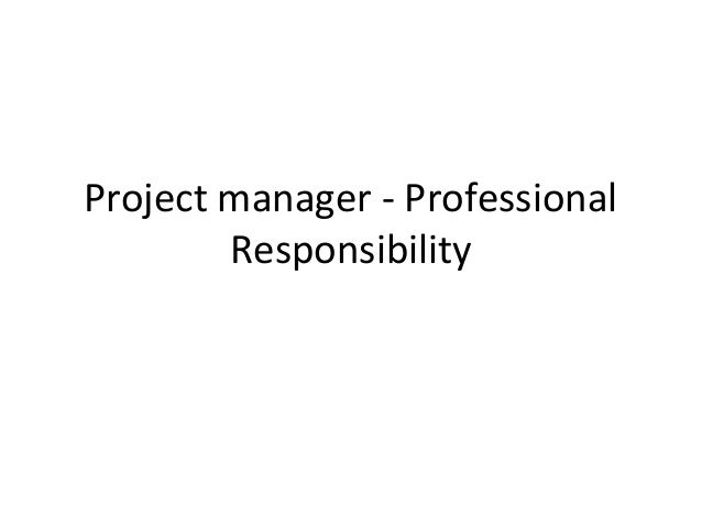 Project manager - Professional        Responsibility