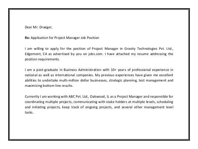 Letter Of Application Manager Position