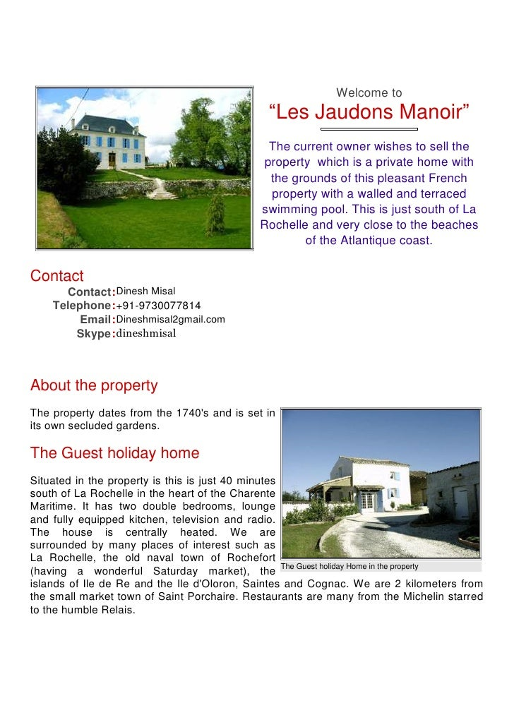 "Welcome to                                              ""Les Jaudons Manoir""                                              ..."