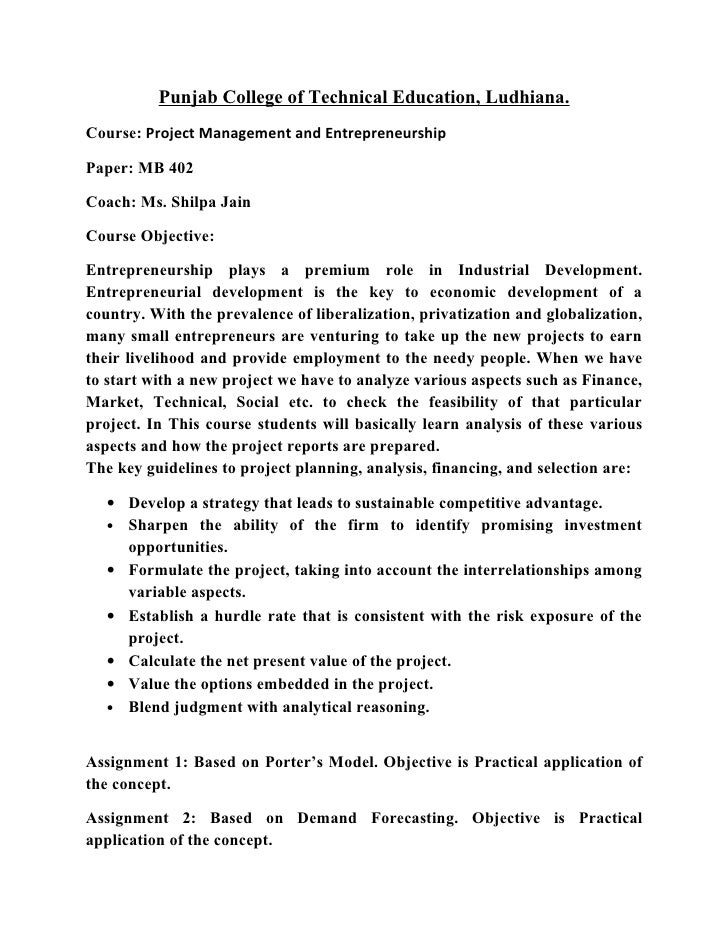 Punjab College of Technical Education, Ludhiana.Course: Project Management and EntrepreneurshipPaper: MB 402Coach: Ms. Shi...