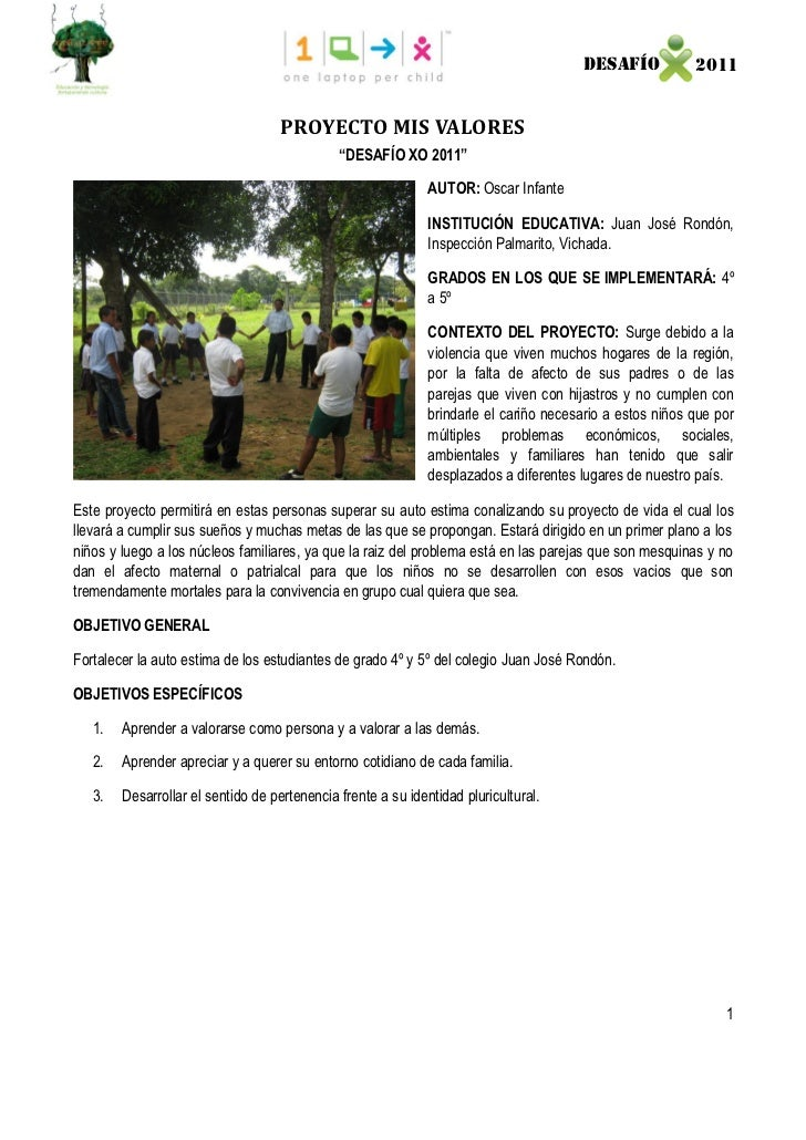 DESAFÍO            2011                                    PROYECTO MIS VALORES                                           ...