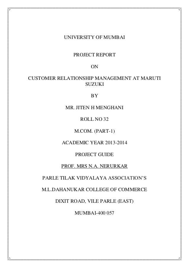 Project MS&S  CRM of maruti suzuki