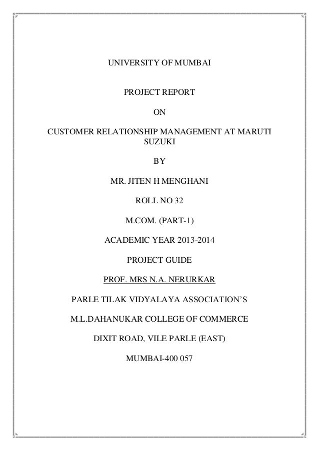 Project MS&S  CRM of maruti suzuki