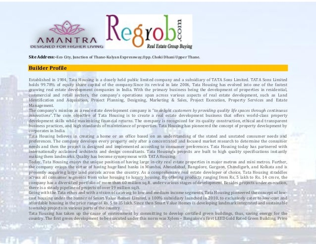Tata Housing Amantra | Luxurious project in Thane @Regrob