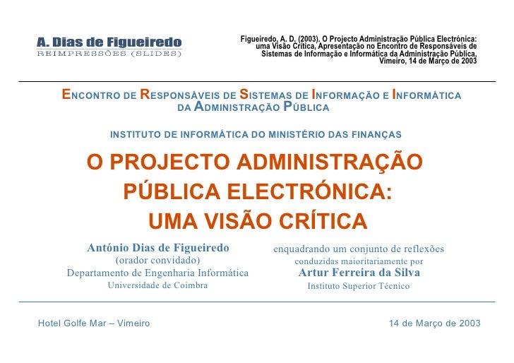 Projecto Administração Pública Electrónica: Visão Crítica