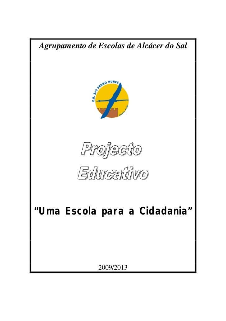 """Agrupamento de Escolas de Alcácer do Sal""""Uma Escola para a Cidadania""""                2009/2013"""